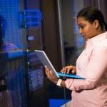 Femme en chemise rose deavnt armoire électrique informatique, ordinateur